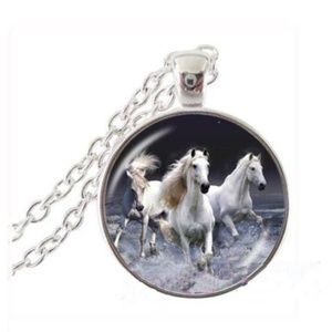 Horse Chain Pendant Necklace Cabochon